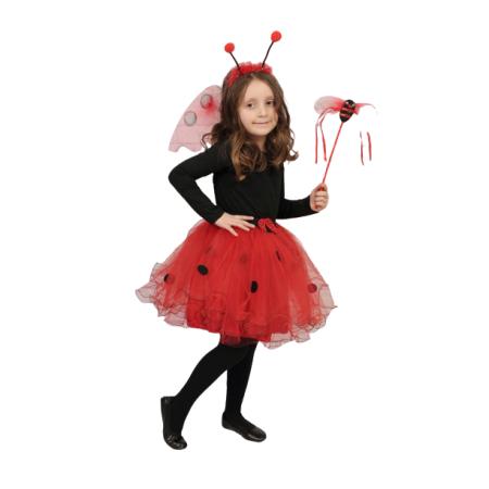 Kız Uğur Böceği Etekli Kanat Set Takım Kostüm