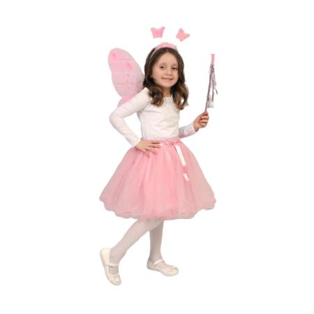 Kız Etekli Kelebek Kanat Set Takım Kostüm