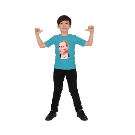Dijital Atatürk Baskılı[BEYAZ-SARI-TURKUAZ MAVİ] Tişört