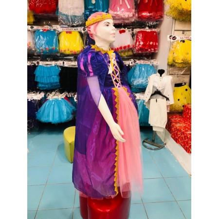 Rapunzel pelerinli taçlı üç parça Çocuk Kostümü